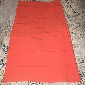 BCBG stretch orange body con skirt